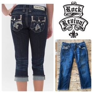 Rock Revival Easy Capri Denim Thick Stitch